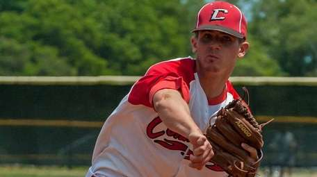 Connetquot starting pitcher Travis Bruinsma throws during Game