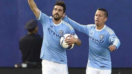 NYC FC forward David Villa celebrates his first-half