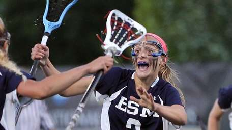 Eastport-South Manor's Kasey Choma celebrates her goal against