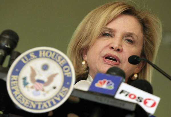 Rep. Carolyn Maloney, D-NY, addresses a gathering of