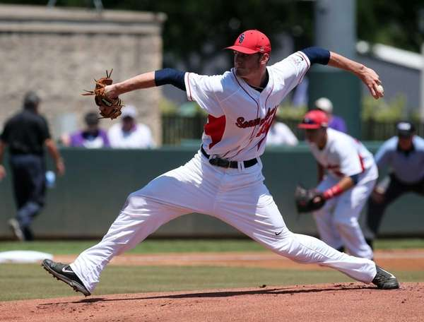 Stony Brook pitcher Teddy Rodliff works the first