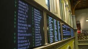 The electronic tote board in the Assembly Chamber