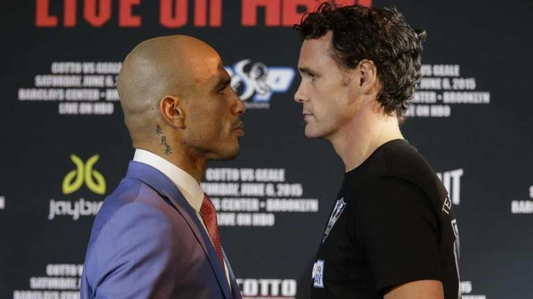Boxers Miguel Cotto, left, and Daniel Geale pose