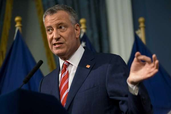 New York City Mayor Bill de Blasio addresses
