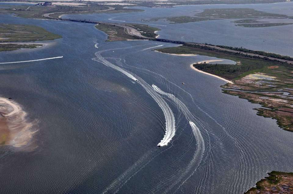 Shown is an aerial view of boats in