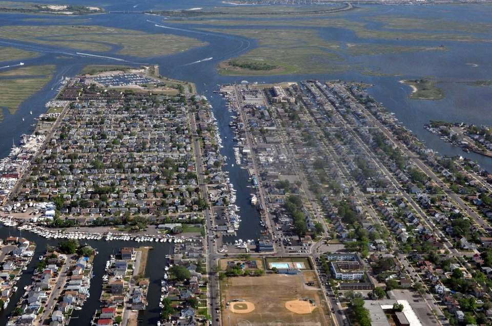 Shown is an aerial view over Freeport on