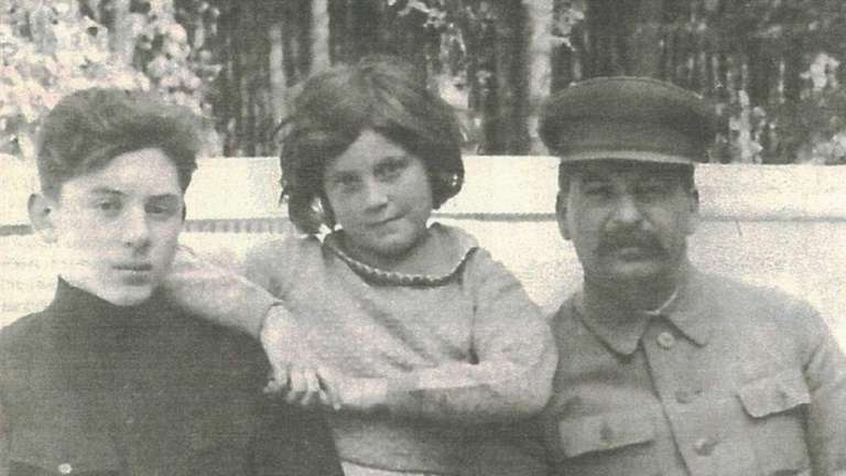 Joseph Stalin with his son, Vasili, and daughter,