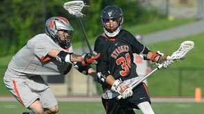Syosset's Alex Giovinco, right, is defended by Niskayuna's