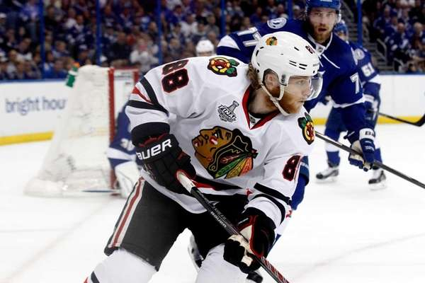 Patrick Kane of the Chicago Blackhawks skates against