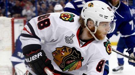 Patrick Kane of the Chicago Blackhawks skates against