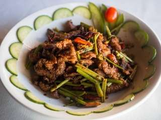 Fried cumin lamb is a Sichuan dish served