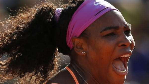 Serena Williams of the U.S. screams after scoring