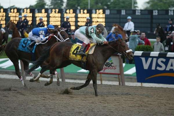 Birdstone wins the 136th running of the Belmont