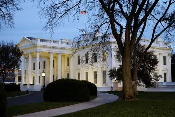 The White House at dusk in Washington on