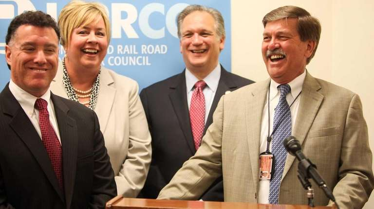 From right, LIRR President Patrick Nowakowski, speaks beside