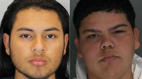 Bryan Larios, 18, left, Joel Escobar, 17, center,