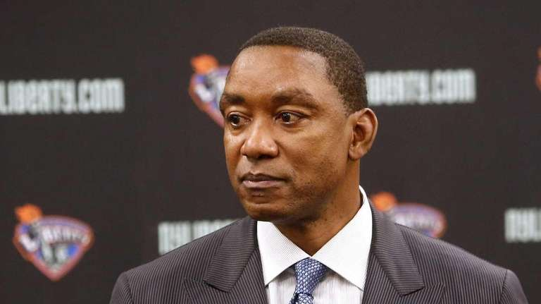 Liberty president Isiah Thomas takes questions before a