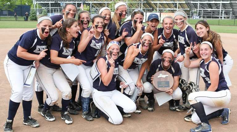 Eastport-South Manor poses after winning the Long Island