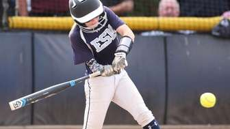 Eastport South Manor's Christina Rizzi leads off the