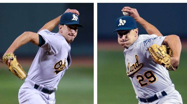 In this two-image combination, Oakland Athletics relief pitcher