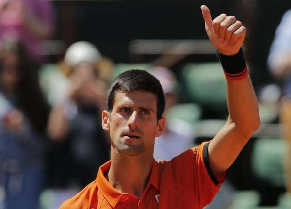 Serbia's Novak Djokovic thumbs up after defeating Britain's