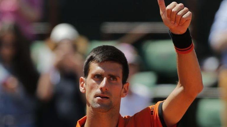 Serbia's Novak Djokovic thumbs up after defeating Britain's