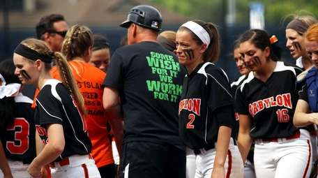 Babylon's softball team reacts during the Class B