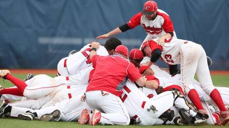 Connetquot players celebrate during the Long Island Class