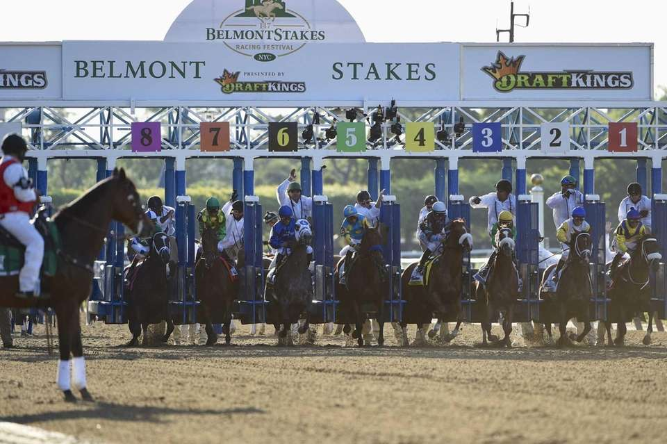 Horses break from the gate at the start