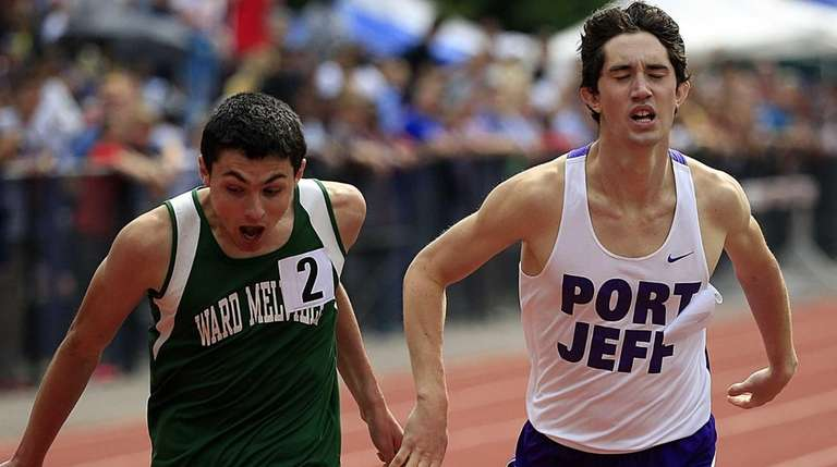 Ward Melville's John Ripa reacts after overtaking Port