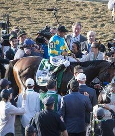 Jockey Victor Espinoza and American Pharoah make their