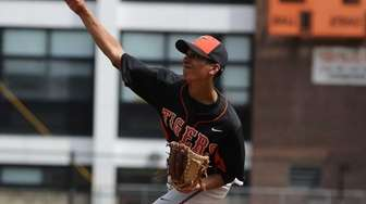 Tuckahoe relief pitcher Michael Liscio pitches late in