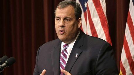 New Jersey Gov. Chris Christie speaks in Pemberton,