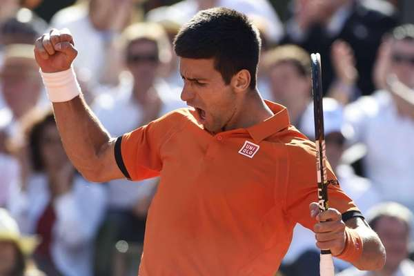 Serbia's Novak Djokovic reacts after a point against