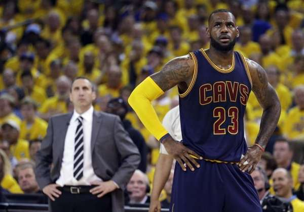 Cleveland Cavaliers forward LeBron James (23) stands on