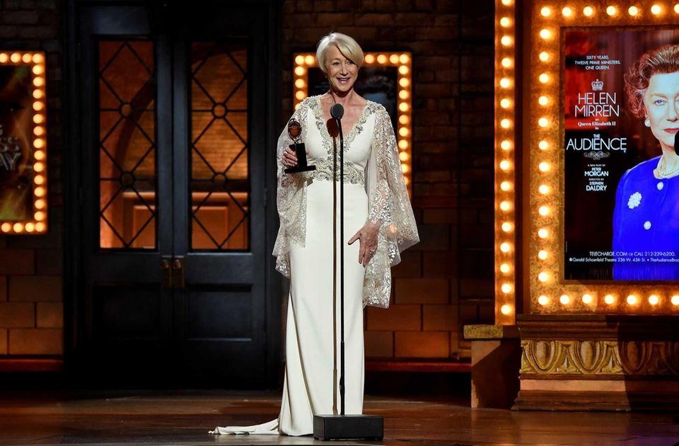 Helen Mirren accepts the award for best performance