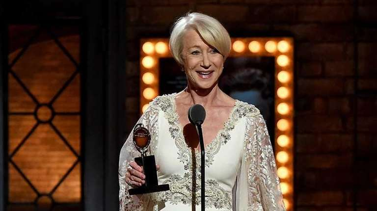 Helen Mirren accepts the award for best performance