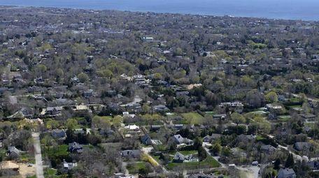 An aerial view looks southeast across Southampton Village