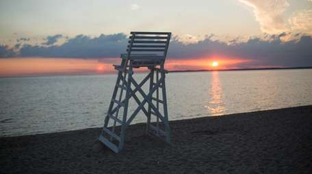 A view of Long Island Sound during sunrise