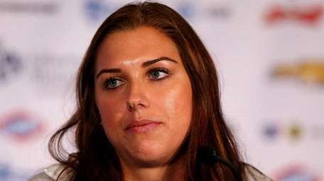 Alex Morgan answers questions during the United States