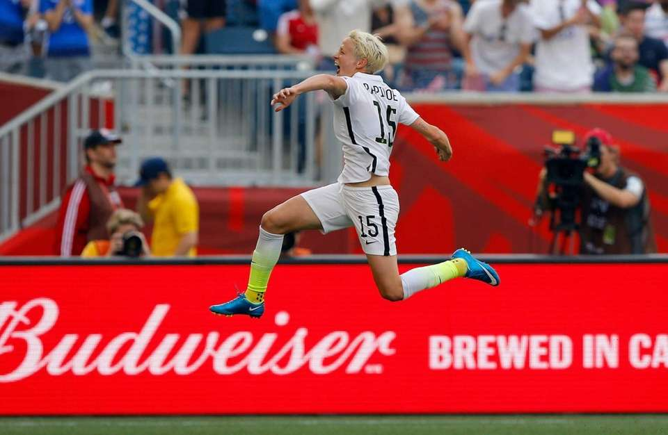 Megan Rapinoe #15 of United States celebrates her