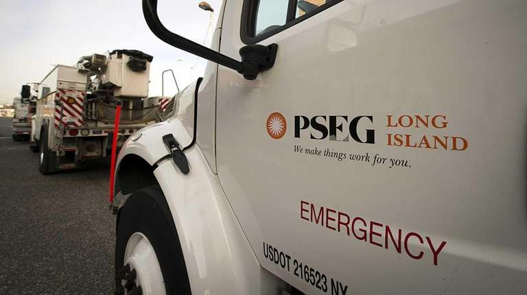 PSEG Long Island trucks leave a service yard
