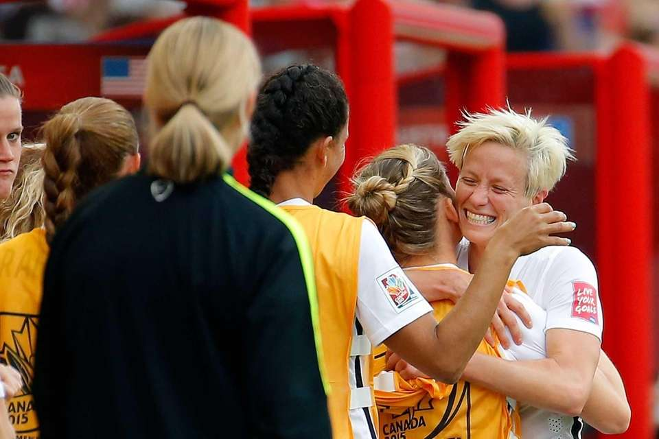 Megan Rapinoe #15 of United States celebrates with