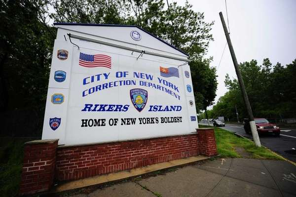 A view of the entrance to Rikers Island