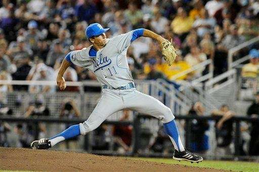 UCLA pitcher James Kaprielian works against LSU in