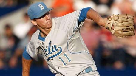 UCLA pitcher James Kaprielian throws during the eighth