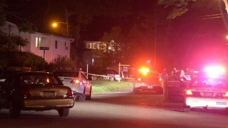 Suffolk County police investigate a shooting in front