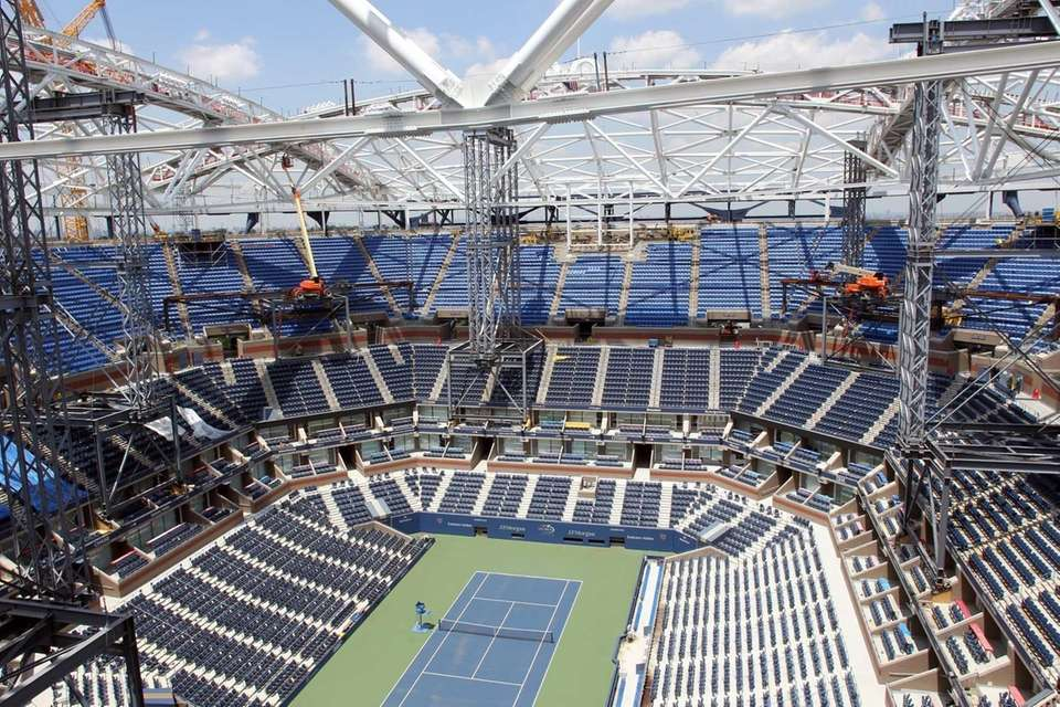 A view of the Arthur Ashe Stadium retractable