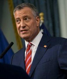 New York City Mayor Bill de Blasio addresses