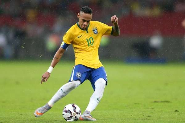 Brazil's Neymar kicks the ball during a friendly